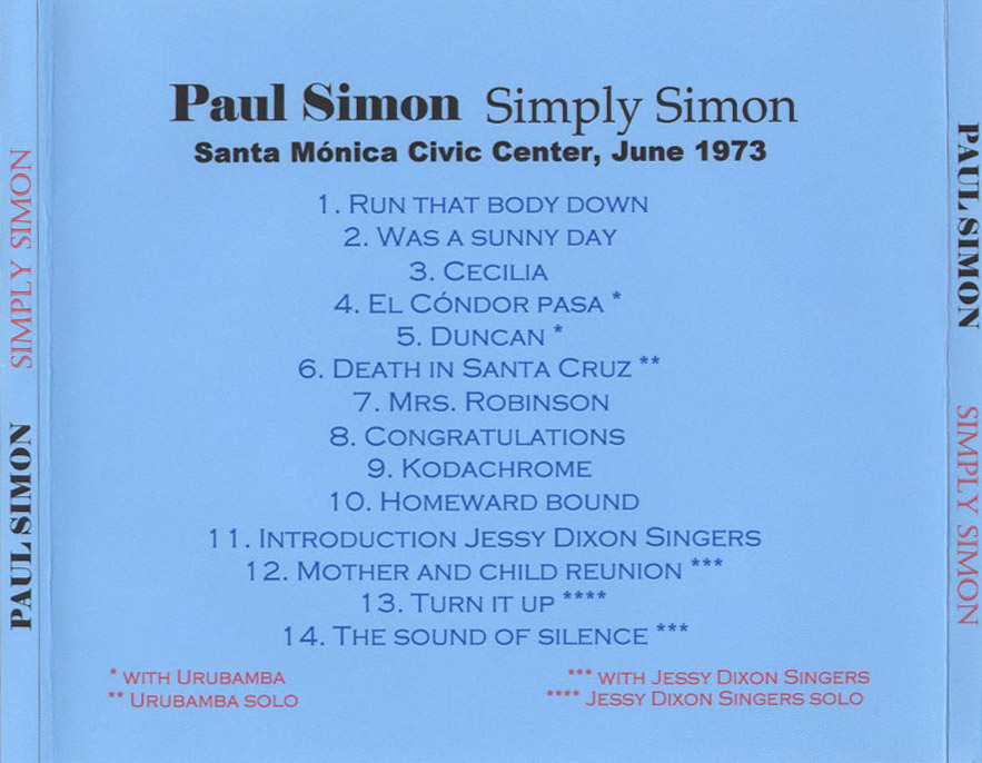 Covers Of Paul Simon Cds And Bootlegs