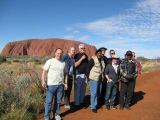 Paul and Band Members visiting Uluru Ayers Rock  Australia during the Old Friends Tour 30 June 2009