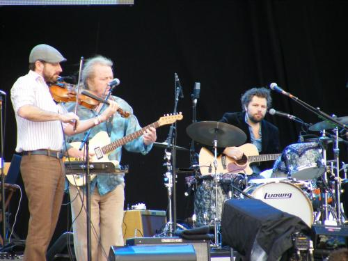 Gabe Witcher (Punch Brothers), Mark Stewart and Jim Oblon During Dazzling Blue At Hard Rock Calling 2012
