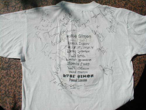 Mandy's T-shirt signed<br> by Paul and the band