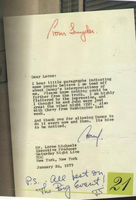 Don`t know the background of this letter from Paul to Lorne Michaels from January 24, 1977. In the staff at that time at SNL was John Belushi, Dan Akroyd, Chevy Chase. Are they meant?