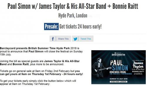 Paul Simon w/ James Taylor & His All-Star Band + Bonnie Raitt, Hyde Park, London
