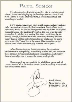 Letter from Paul Simon