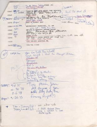 Notes song list archive 1984
