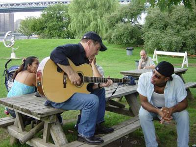 Paul Simon in a park in New York on the 12th of august taken by a Japanese tourist (fan)