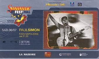 Ticket from the great concert in Lucca (Italy), July 2002