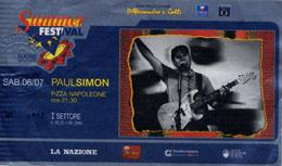 Ticket from the 2002 tour : concert in Lucca (Italy)
