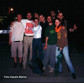 Some fans after the concert in Lucca (Italy, July 6th 2002) : Guido with the PS t-shirt, myself by his side with the white t-shirt and Nicolas by my other side with the black t-shirt